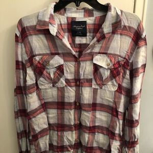 American Eagle Red Plaid Button Down